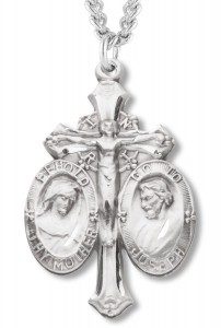 Mary and Joseph Crucifix Pendant - Sterling Silver [REM3000]