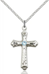 Matte Cross Pendant with Diamond Etching Birthstone Options [BLST6007]