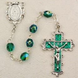 May Birthstone Rosary (Emerald) - Rhodium Plated [MVR017]