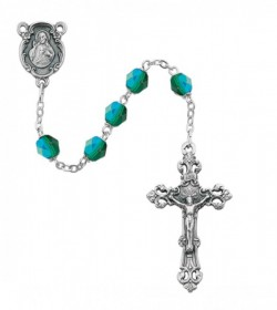 May Birthstone Rosary (Emerald) - Silver Oxidized [MVR029]