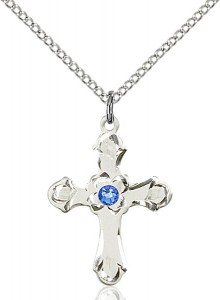 Medium Budded Cross Pendant with Etched Border Birthstone Options [BLST60362]