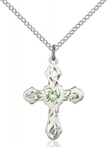 Medium Floral and Petal Cross Pendant with Birthstone Options [BLST60363]