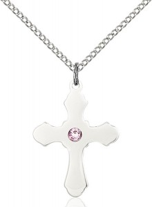 Medium High Polished Soft Edge Cross Pendant with Birthstone Options [BLST60361]