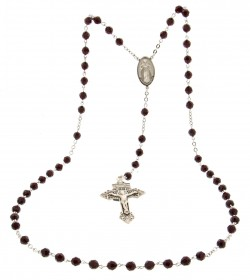 Men's 7mm Garnet Swarovski Rosary with Pardon Crucifix [HMRB016]