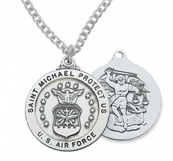 Men's Air Force Saint Michael Medal Sterling Silver of Pewter [MV2030]