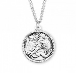 Men's Beaded Edge Round Saint Michael Medal [HMM3015]