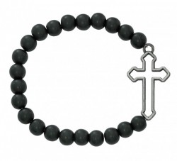 Men's Black Matte Bead and Cut Out Cross Stretch Bracelet [MCBR0052]
