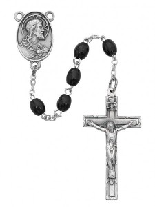 Men's Black Wood Rosary with Sacred Heart Centerpiece [RBMV026]