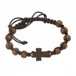 Men's Brown Wood Beads with Cross and Black Cord Bracelet [MCBR0015]