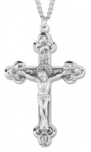 Men's Budded Floral Edge Crucifix Pendant [HM0753]