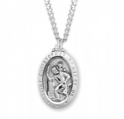 Men's Classic Oval Saint Christopher Necklace [HMM3410]