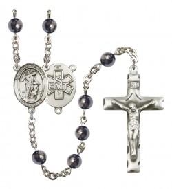 Men's Guardian Angel EMT Silver Plated Rosary [RBENM8118S10]
