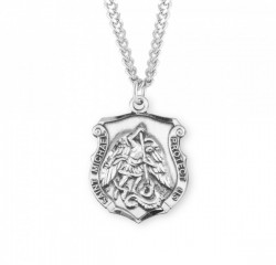 Men's Hand Etched Saint Michael Badge Medal [HMM3011]