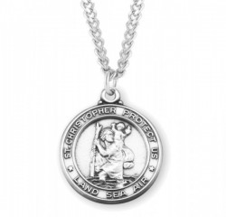 Men's LAND AIR SEA St. Christopher Necklace [HMM3395]