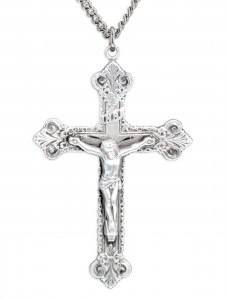 Men's Large Budded Edge Crucifix Pendant [HM0737]