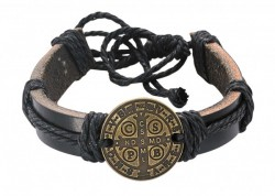 Men's Leather Bracelet with St Benedict Medal Adjustable [MCBR0012]
