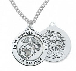 Men's Marines Saint Michael Medal Sterling Silver of Pewter [MV2033]