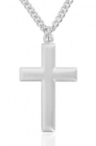 Men's Matte Cross Pendant with Beveled Edge [BM0173]