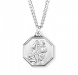 Men's Octagon Shape Saint Christopher Necklace [HMM3402]