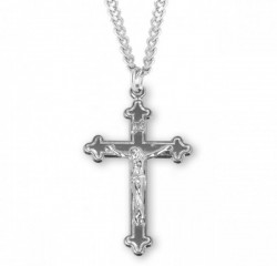 Men's Outlined Crucifix Medal Sterling Silver [RECRX1018]