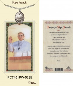 Men's Oval Pope Francis Pewter Pendant w. Prayer Card [BLPCP063]