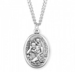Men's Oval Saint Christopher Necklace [HMM3401]