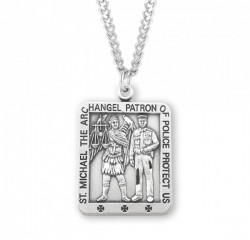 Men's Police and Saint Michael Rectangle Necklace [HMM3012]