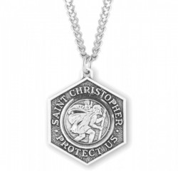 Men's Protect Me Octagon St. Christopher Necklace [HMM3403]