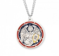 Men's Red and Blue Enamel Saint Michael Medal [HMM3030]