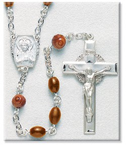 Men's Rosary 8mm Brown Cocoa Beads and Sterling Silver [RB3428]