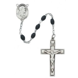 Men's Rosary with Black Glass and Sacred Heart Centerpiece [RBMV025]