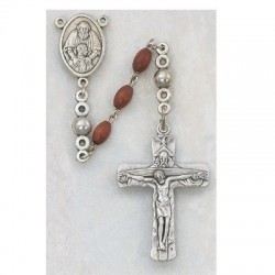 Men's Rosary with Trinity Crucifix, Oval Brown Wood Beads [RBMV029]