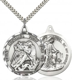 View all saint michael medal with necklace catholic faith store mens large round double sided st michael guardian angel medal cm2133 aloadofball Images