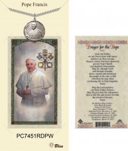 Men's Round Pope Francis Pewter Pendant w. Prayer Card [BLPCP062]