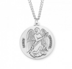 Men's Large Round Saint Michael Pendant [HMM3013]