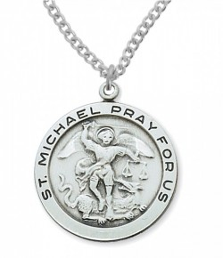 Men's Round St. Michael Medal in Sterling or Pewter [MVM1041]
