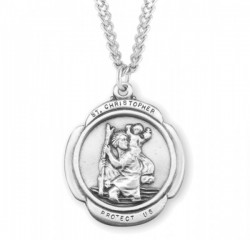 Men's Rounded Cross St. Christopher Necklace [HMM3400]