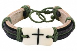 Men's Rustic White Leather Bracelet with Brown Cross Adjustable [MCBR0010]