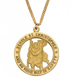 Men's Saint Christopher Cut-Out Medal Goldtone [MV2010]