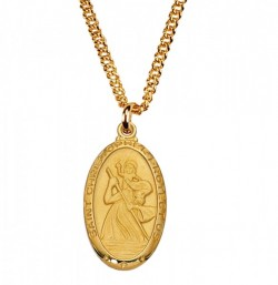 Men's Saint Christopher Oval Goldtone Medal [MV2021]