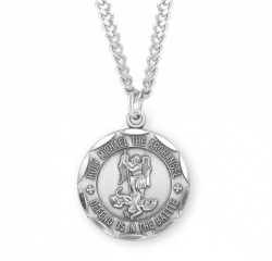 Men's Saint Michael Necklace with Scalloped Round Edge [HMM3001]