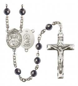 Men's Scapular Silver Plated Rosary [RBENM8098]