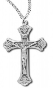 Men's Scroll Tip Crucifix Pendant [HM0850]