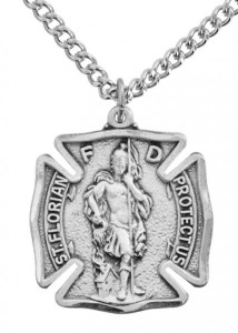 Men's Sized Sterling Silver Saint Florian Firefighter Medal [SN0009]