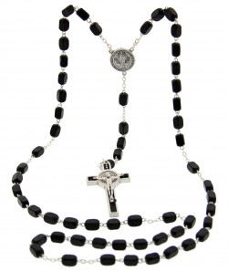 Men's St. Benedict Black Wood Rosary 7mm [SFA0012]