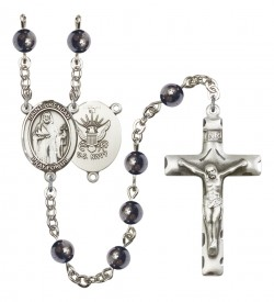 Men's St. Brendan the Navigator Navy Silver Plated Rosary [RBENM8018S6]