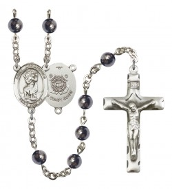 Men's St. Christopher Coast Guard Silver Plated Rosary [RBENM8022S3]