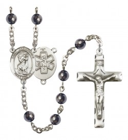 Men's St. Christopher EMT Silver Plated Rosary [RBENM8022S10]