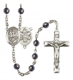 Men's St. George EMT Silver Plated Rosary [RBENM8040S10]