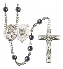 Men's St. Joan of Arc  Coast Guard Silver Plated Rosary [RBENM8053S3]